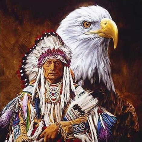 Eagle and Indian Diamond Painting Kit