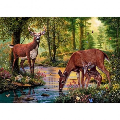 Deer in the forest drinking water Diamond Painting Kit