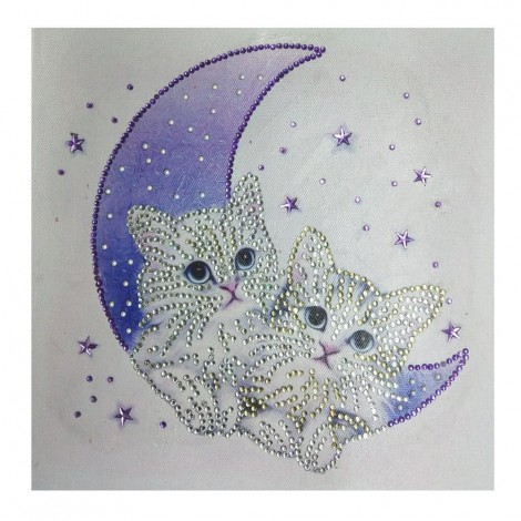 Special Shaped Cats Moon Cute Diamond Painting Kit